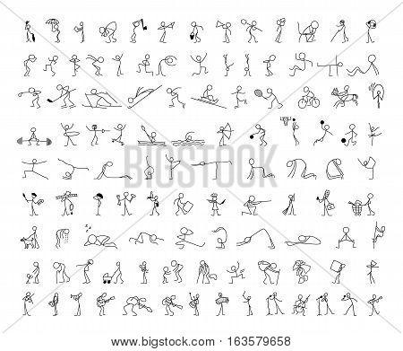 Cartoon icons set of sketch little vector people stick figure in cute miniature scenes.