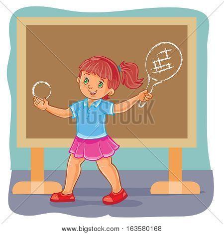 Vector illustration of a schoolgirl fancies himself a tennis player