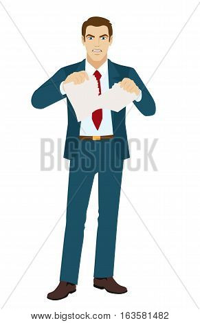 Angry businessman tearing paper. Termination of the contract.  Vector illustration.
