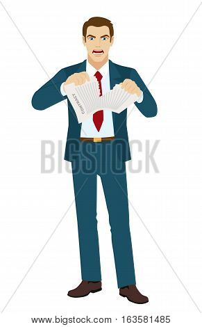 Angry Businessman tearing contract. Termination of the contract. Vector illustration.