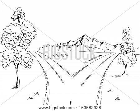 Road fork graphic black white landscape sketch illustration vector