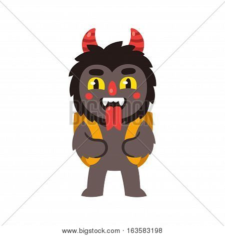 Christmas devil Krampus Santa's companion in Austria. With traditional backpack basket grimacing and sticking out tongue. Cute cartoon vector illustration.