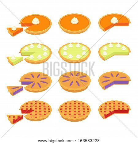 Set of traditional American pies: Pumpkin Key Lime Strawberry or Cherry and Blueberry pie. Whole and cut slices. Flat cartoon vector illustrations.