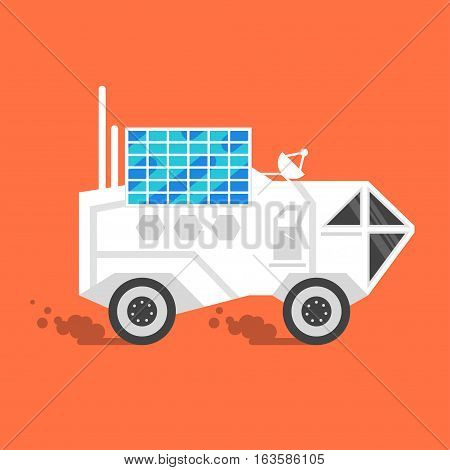 Vector flat style illustration of space rover with solar panel on the top. Isolated on orange background.