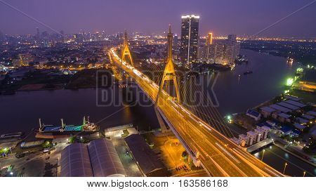 Bhumibol Bridge in Thailand The bridge crosses the Chao Phraya River twice.