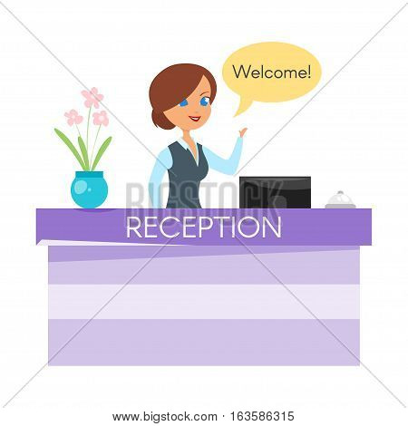 Vector cartoon style illustration of hotel receptionist. Happy woman standing at the reception counter desk with bell.