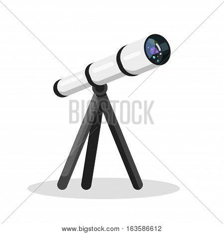 Vector flat style illustration of telescope isolated on white background. Web icon.