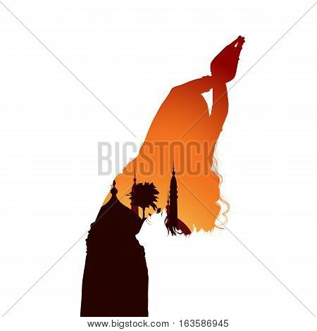 Silhouette of the girl with the background. Oriental belly dance. Arabic dance.