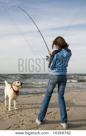Fishing with Labrador Retriver