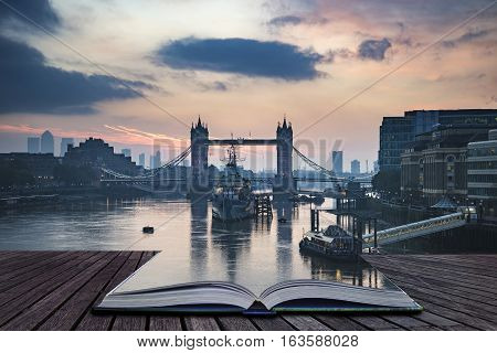 Beautiful Autumn Fall  Dawn Sunrise Over River Thames And Tower Bridge In London Coming Out Of Pages