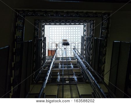 lift shaft in old multistory house in Rome