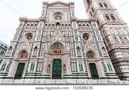 Facade Of Florence Duomo And Campanile In Morning