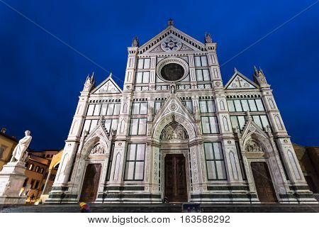 Front View Of Basilica Santa Croce In Rainy Night