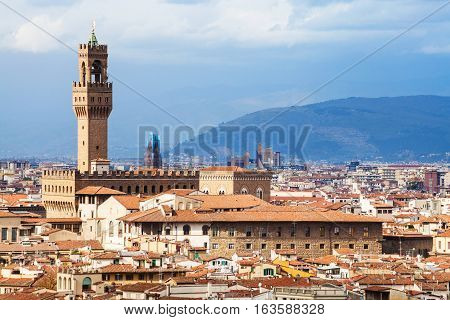 Skyline Of Florence City With Palazzo Vecchio