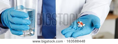 Male Medicine Doctor Hands In Blue Gloves