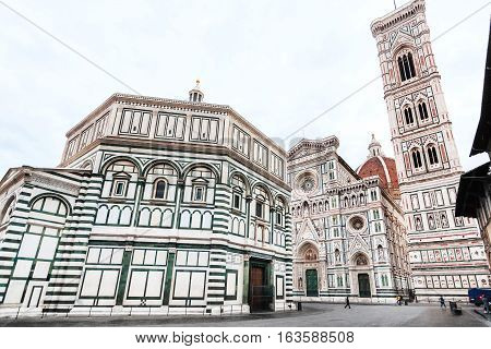 Baptistery And Florence Duomo With Tower N Morning
