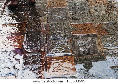 Wet Stone Pavement Of On Piazza San Giovanni