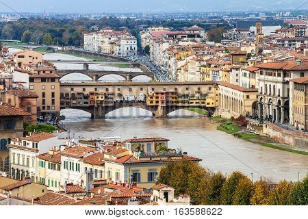 Above View Of Ponte Vecchio In Florence Town