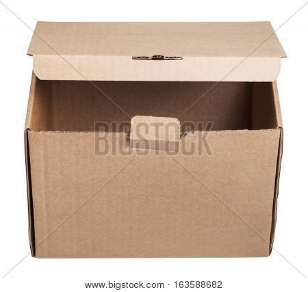 Front View Of Slightly Open Cardboard Box Isolated