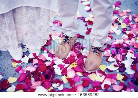 Bride and groom standing amongst rose petals. Wedding Moment