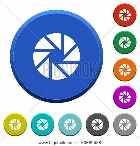 Aperture round color beveled buttons with smooth surfaces and flat white icons