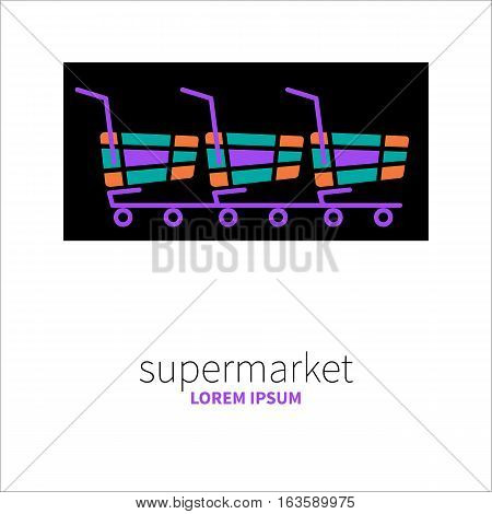 Llogo of supermarket. Icon Internet store. Colored purchase isolated on black background. Vector illustration.