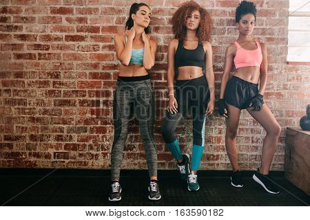 Fitness Women Standing In Gym