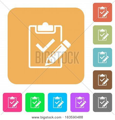 Fill out checklist icons on rounded square vivid color backgrounds.