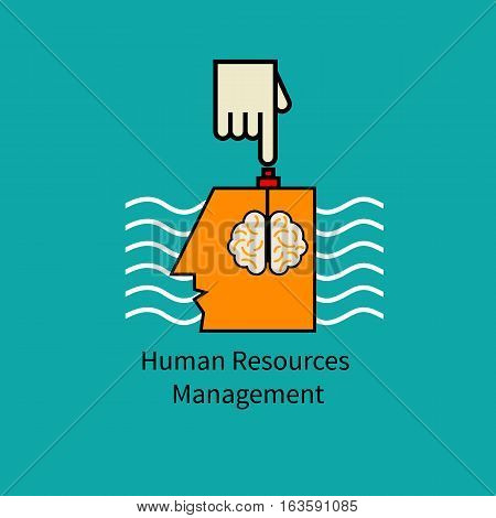 Icon human resource management. Symbol manipulation. Hand presses button in head of man. Vector illustration.