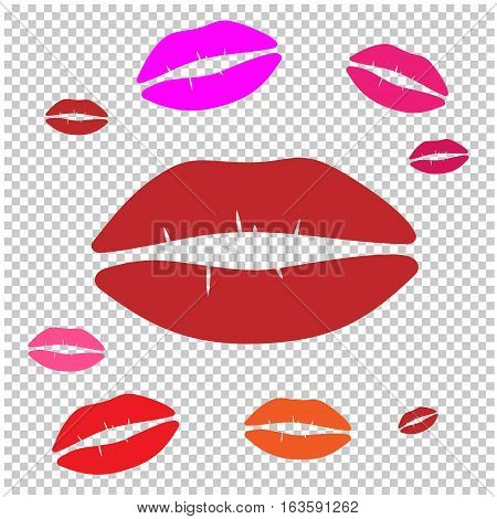 Kiss and red lips isolated object, vector illustration.