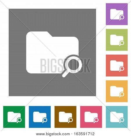 Search folder flat icons on simple color square backgrounds