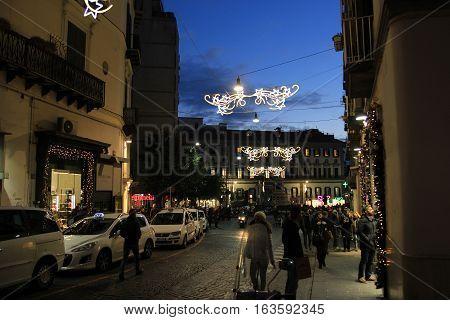 NAPLES ITALY - DECEMBER 27 2016: Santa Caterina street at night during the festive season