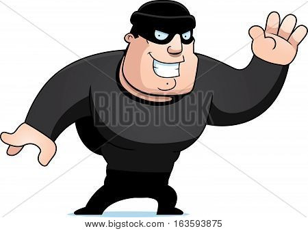 A cartoon illustration of a burglar waving.