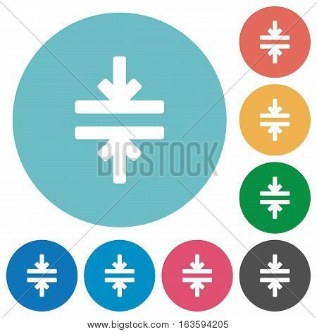 Horizontal merge flat white icons on round color backgrounds