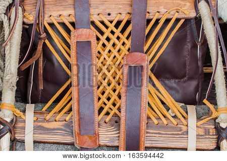 Medieval Horse harness, Saddle for horse close-up, background