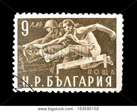 BULGARIA - CIRCA 1949 : Cancelled postage stamp printed by Bulgaria, that shows Hurdle race.