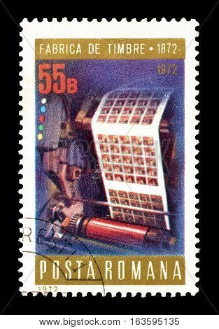 ROMANIA - CIRCA 1972 : Cancelled postage stamp printed by Romania, that shows Printing press.