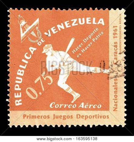 VENEZUELA - CIRCA 1961 : Cancelled postage stamp printed by Venezuela, that shows Baseball.