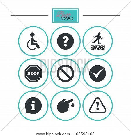 Attention caution icons. Question mark and information signs. Injury and disabled person symbols. Round flat buttons with icons. Vector