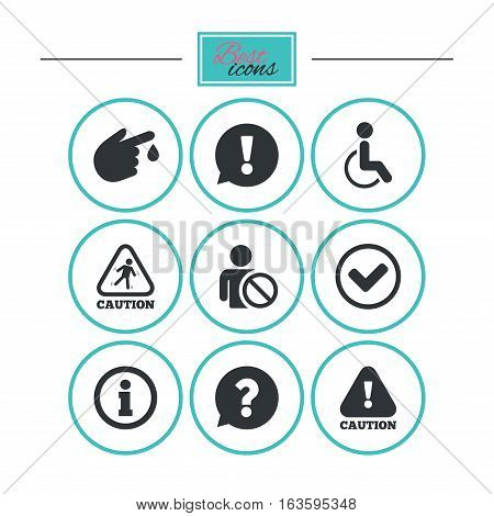 Caution and attention icons. Question mark and information signs. Injury and disabled person symbols. Round flat buttons with icons. Vector