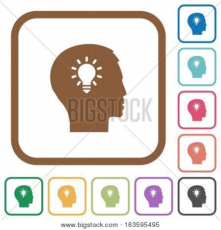 Idea simple icons in color rounded square frames on white background
