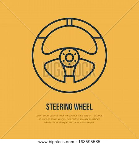Steering wheel vector line icon. Car racing logo, driving lessons sign. Automobile parts illustration.