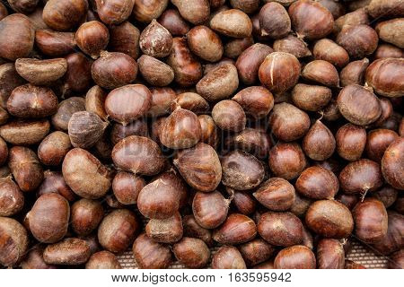full frame image with raw chestnuts in Turkey