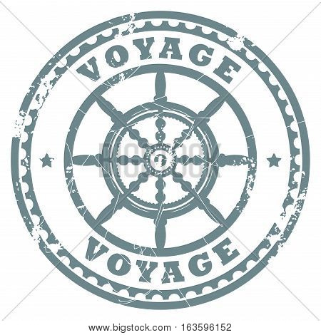 Grunge rubber stamp with steering wheel and the text Voyage written inside the stamp, vector illustration