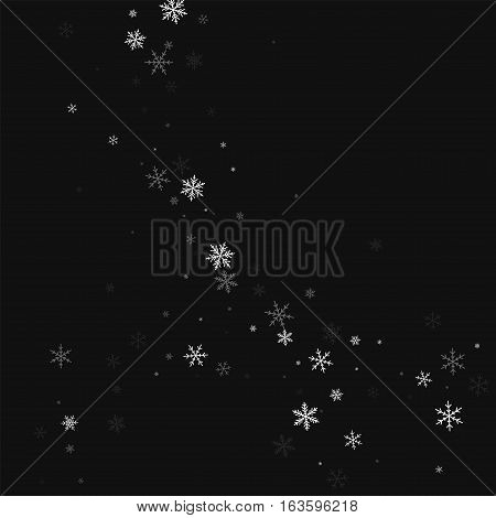 Sparse Snowfall. Abstract Circles On Black Background. Vector Illustration.