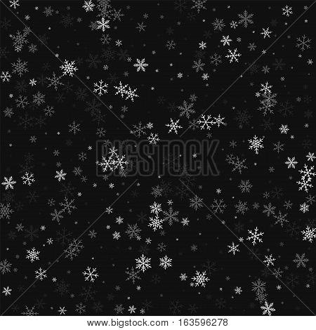 Sparse Snowfall. Scattered Pattern On Black Background. Vector Illustration.