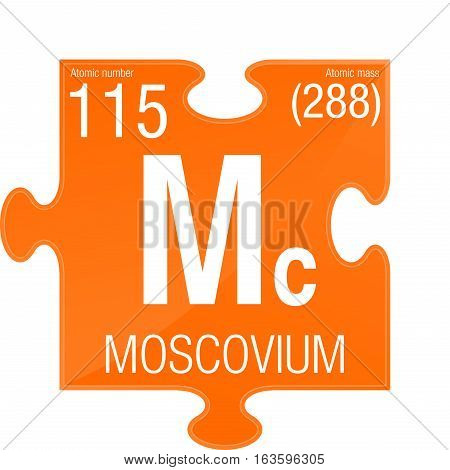 Moscovium symbol. Element number 115 of the Periodic Table of the Elements - Chemistry -  Puzzle piece with orange background
