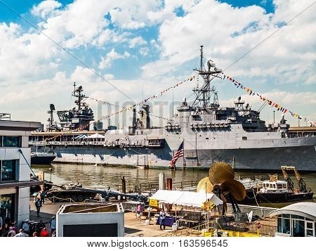 NEW YORK-MAY 27: The Kitty Hawk class aircraft carrier USS John F. Kennedy docked for Fleet Week on May 27 2005 in New York City.