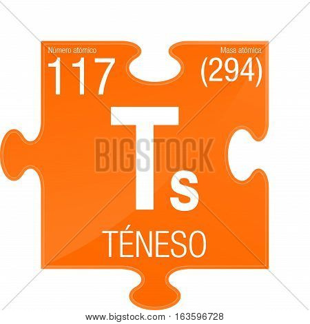 Teneso symbol - Tennessine in Spanish language - Element number 117 of the Periodic Table of the Elements - Chemistry -  Puzzle piece with orange background
