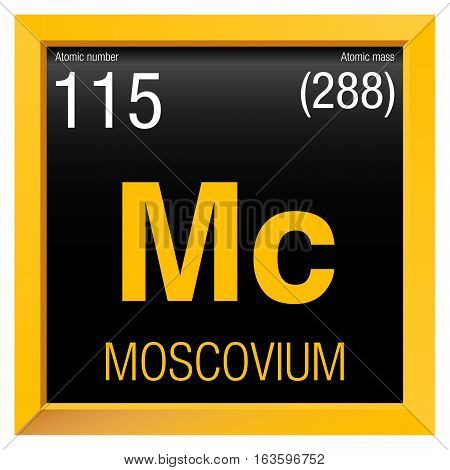 Moscovium symbol. Element number 115 of the Periodic Table of the Elements - Chemistry - Yellow square frame with black background